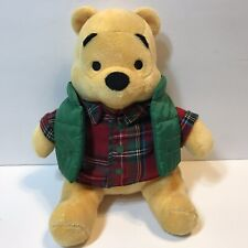 Winnie the Pooh Disney Store Authentic Fall Plaid Vest Plush Stuffed Bear