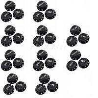 10 Sets 1 Volume 2 Tone Control Knobs For Fender Strat Style Parts Black