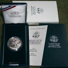 1991 US Mint Proof Korean War Commemorative Korea Silver Dollar Coin Box and COA