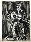 """Morris Yudelson – Original Painting / """"Bob Dylan Playing To The Crowd"""" - 1978"""