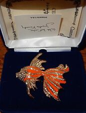 Camrose & Kross Jacqueline Kennedy Reproduction Coral Fish Brooch JBK New