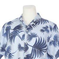 Banana Republic Camden Blue Palm Pure Linen Short Sleeve Casual Shirt Mens Large