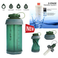 Outdoor Portable 750ml Hollow Fiber UF Collapsible Water Straw Bottle Purifier