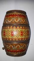 ANTIQUE OLD PRIMITIVE WOODEN SMALL CANTEEN FLASK KEG HAND CARVED