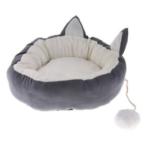 Pet Cat Dog Puppy Round Bed Soft Plush Warm House Nest Mat Cushion Gray M