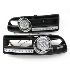 Car Black GRILLE FOG LIGHT LED LAMP FOR VW JETTA BORA MK4 99-04 Plus DRL