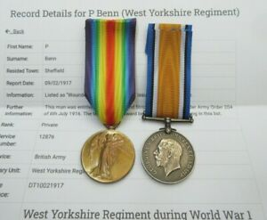WWI 1914 - 1918 MEDAL PAIR TO PTE P.BENN WEST YORKSHIRE REG & INFO SHEET WOUNDED