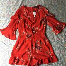 ATMOSPHERE PRIMARK Red Ruffle Flower Floral Summer Playsuit Size 6 8 XS
