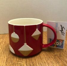 Starbucks 2012 Christmas Mug Red with Gold & White Embossed Ornaments NEW