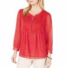 TOMMY HILFIGER NEW Women's Bayview-dot Pintuck Blouse Shirt Top XS TEDO