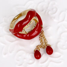 R243 Betsey Johnson Vampire Teeth Lips Halloween Party Dangling Ring UK