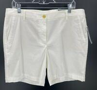 Talbots Womens Girlfriend Chino Flat Front Shorts White Size 12 NWT