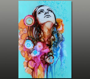 Gala ORIGINAL modern art nude female spring flowers portrait face ink painting