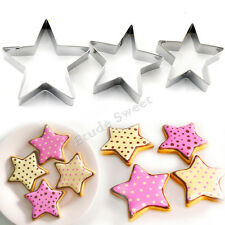 3 X Star Shape Cookie  Cutters Sugarcraft Decor Paste Biscuit Cake Mould bc1