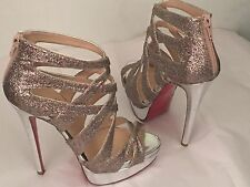 Christian Louboutin Silver Glitter Balotastrappy Platform Sandals Size 5 1/2
