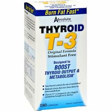 Absolute Nutrition Thyroid T-3 Stim Free, 180 caps BOOST METABOLISM, BURN FAT