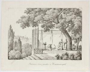 """Gottfried Engelmann (1788-1839) """"Interieur d'un jardin a Constantinople"""", 1818"""