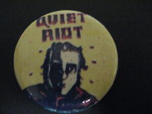 Quiet Riot-Mental Health-Yellow-Cartoon-Large Pin Badge-80's Vintage-Rare