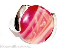 Bague fantaisie plaqué argent Agate naturelle design T 50 bijou ring