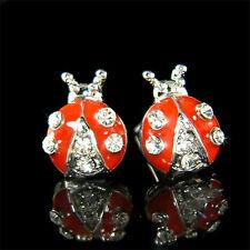Cute w Swarovski Crystal Red Ladybug Bug Stud Nickel Lead free Earrings Xmas New