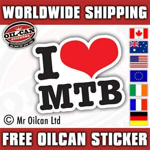 I Love MTB mountain bike MTB sticker 130mm wide