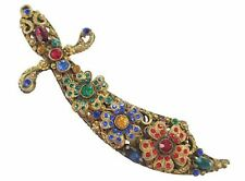 "JEWELED 5 1/4"" SCIMITAR SWORD BROOCH PENDANT THIEF OF BAGDAD DESIGN VINTAGE PIN"
