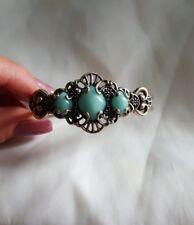 Beautiful Designer Carolyn Pollack Blue Amazonite Stone Cuff Bracelet
