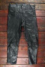 Vintage 80 S BELSTAFF Mouton Noir en Cuir Moto Pantalon Biker Pantalon W31 L27