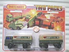 Lesney Matchbox 1975 TP15A 4TS702K Labels MILITARY Truck + Trailer Two Pack MiP
