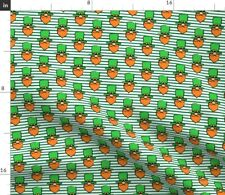 Leprechaun Gnome Faces Green Stripes Cute Holiday Spoonflower Fabric by the Yard