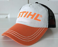 Stihl Outfitters Fabric & Mesh Hat Cap w Orange Bill and Logo