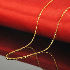 "Solid 999 24k Yellow Gold 1.0 mm Star Link Chain Necklace 17"" Length"