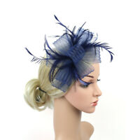Women Flower Feather Fascinator Hairband Headband Hat for Wedding Tea Party