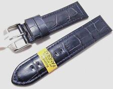cinturino x panerai pelle alligatore opaco imbottito 24 mm blu fatto a mano