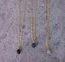 Anthropologie Delicate Minimal Lapis Lazuli Pendant Gold Plated Chain Necklace