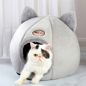 Pet Cat Dog House Kennel Cuddle Cave Sleeping Bed Soft Mat Pad Winter Warm Nest