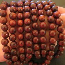 8mm*108 Buddha No Waxed Lobular Red Sandalwood Prayer Beads Tibet Buddhist Mala