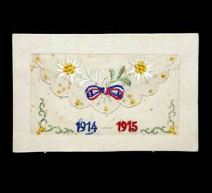 Antique WW1 silk postcard original BRING YOU LUCK with Union Jack and flowers