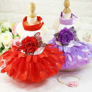 Small Pet Puppy Dog Cat Lace Skirt Tutu Dress Princess Clothes Apparel XS-XL