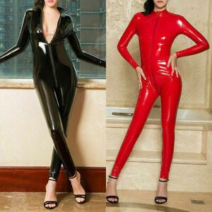 Womens Wetlook 2 Way Zipper Latex Catsuit Bodysuit Clubwear PVC Leather Jumpsuit