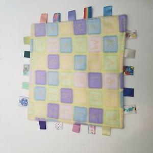 Taggies ABC Baby Blanket Alphabet Fleece Security Lovey Sensory 12 x 12 Yellow