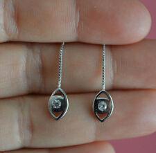 925 Sterling Silver CZ Eye Long Thread Pull Through Dangle Earrings, Eye Earring
