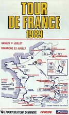 TOUR DE FRANCE 1989 RETRO OFFICIAL ROUTE MAP POSTER GREG LEMOND