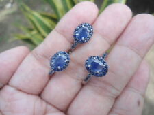 NATURAL Thailand Blue SAPPHIRE STERLING 925 SILVER EARRINGS & RING S6.5 SET