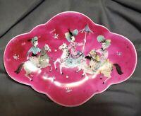 MCM Merlin Hardy Hand Painted Porcelain Rhombus Quatrefoil Dish Plate Signed