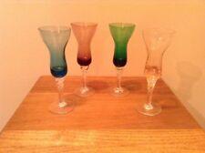 4 nice twisted stem elegant multi colored 2 oz pedestal cordial glasses