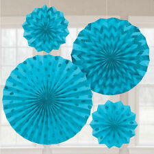 CARIBBEAN BLUE PRINTED GLITTER FAN DECORATIONS (4) ~ Birthday Party Supplies