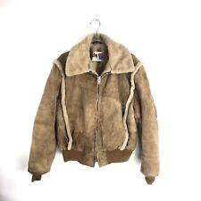 Leather Suede Jacket Bomber Sz 42 Circa 1970s EMAR Zipper Fuzzy Lined Schott