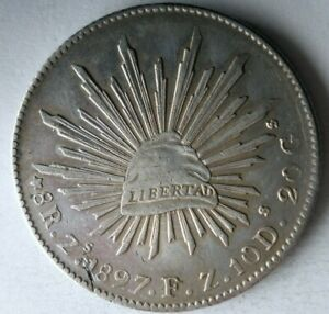 1897 Zs MEXICO 8 REALES - Strong Value Uncommon Silver Coin - lot #F22