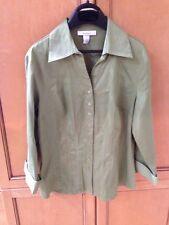 (1) Dress Barn Women's Olive Long Sleeve Dress Shirt Button Up Size S